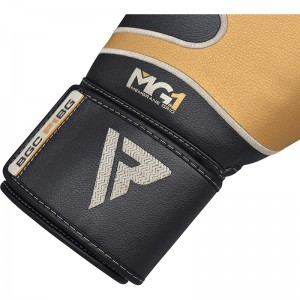 Боксерские перчатки RDX Leather Black Gold 10 oz